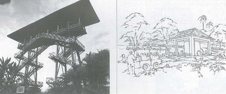 Parque Nacional de la Culturla del Café. Estructura en guadua y apunte gráfico