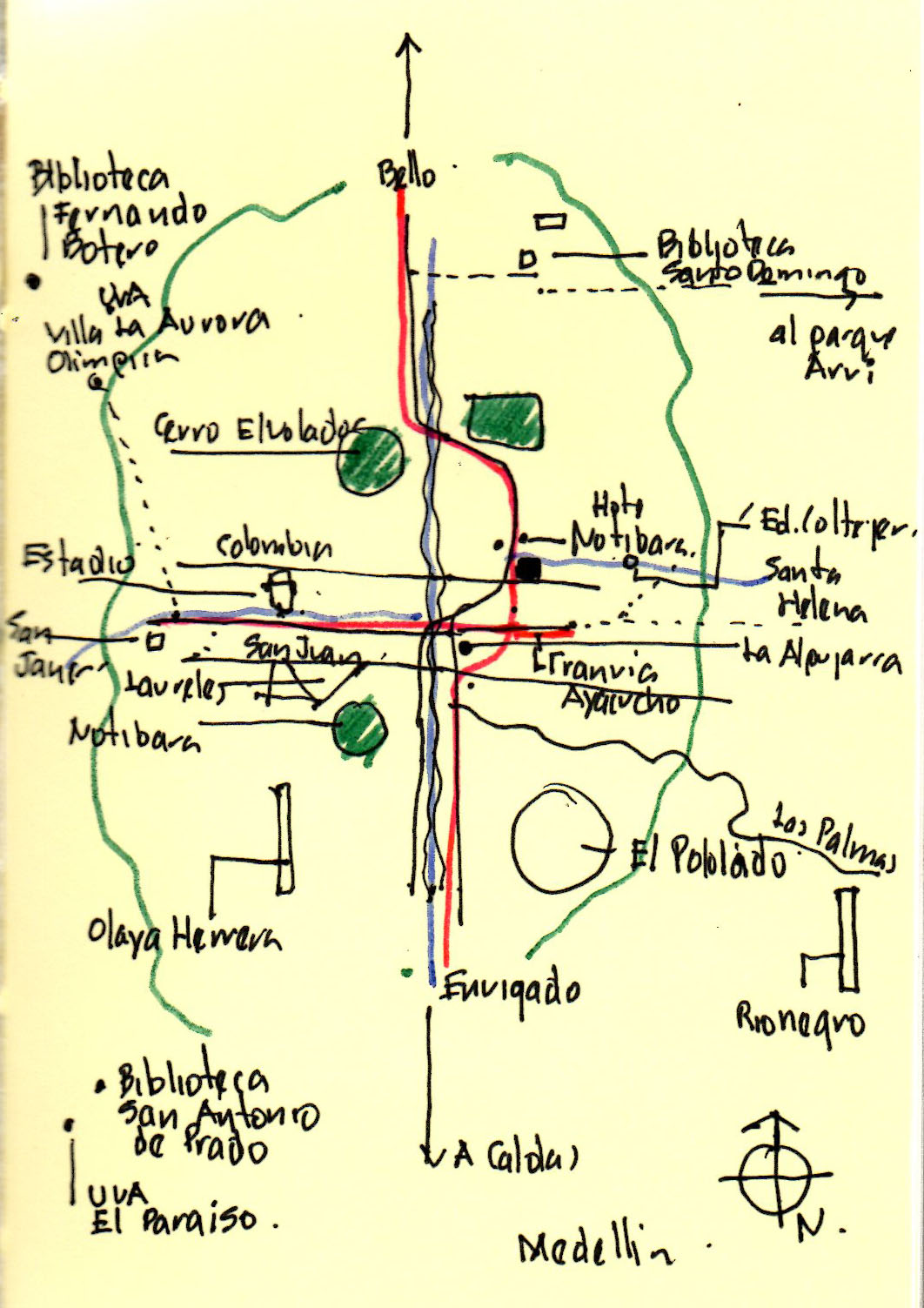Plano esquemático de Medellín.